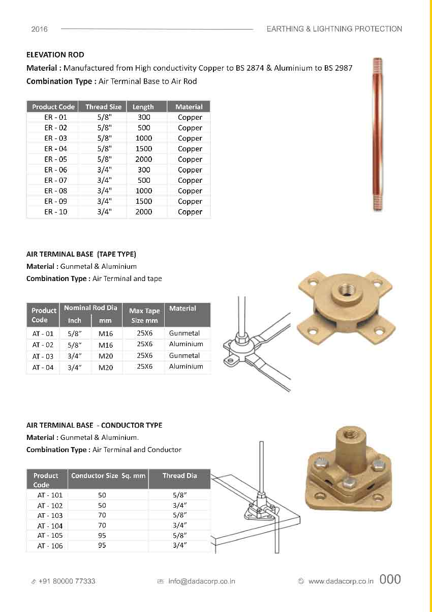 Elevation Rod,air terminal base - tape type & conductor type