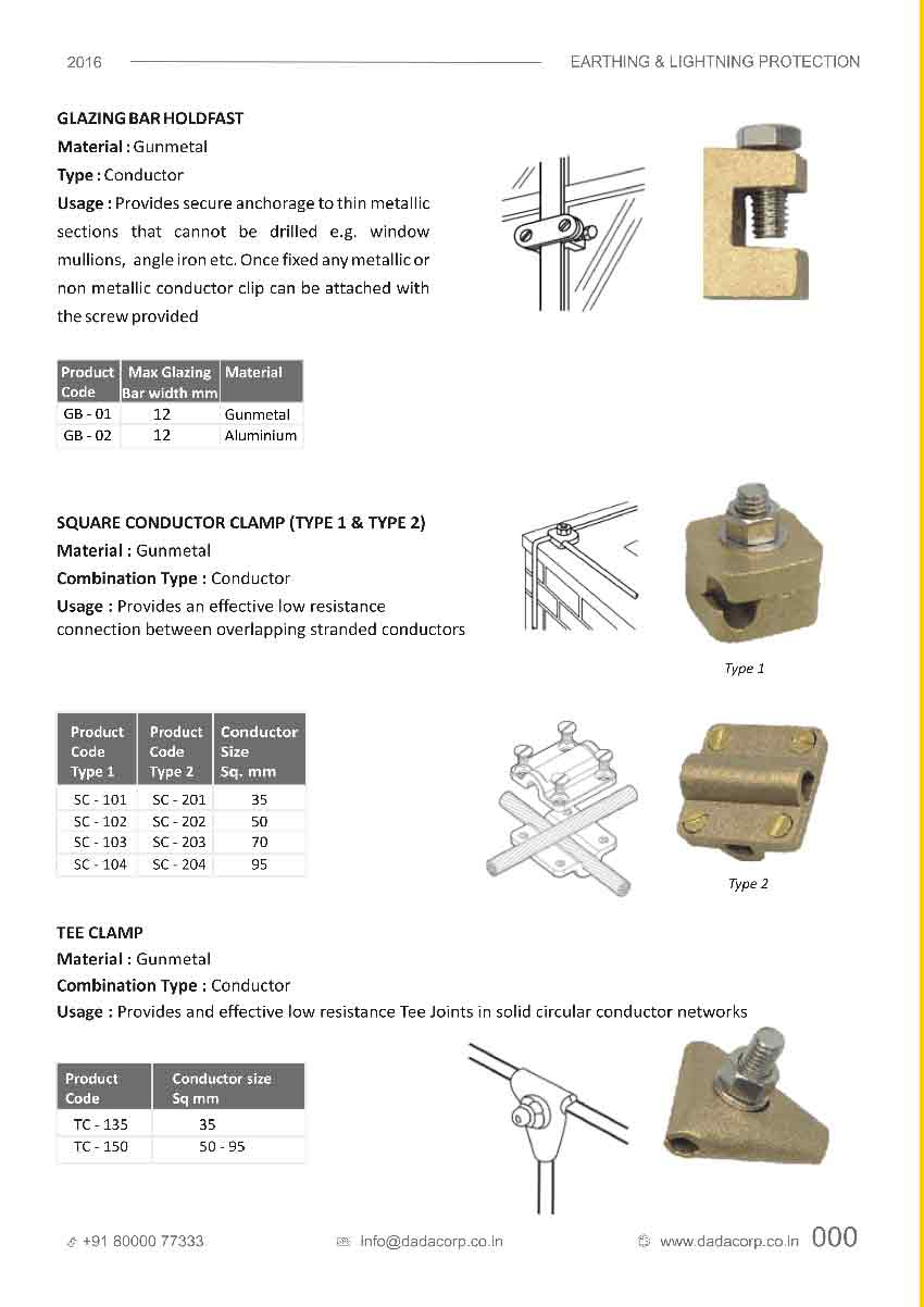 Glazing bar hold fast,square conductor clamp(type 1, 2) &tee clamp