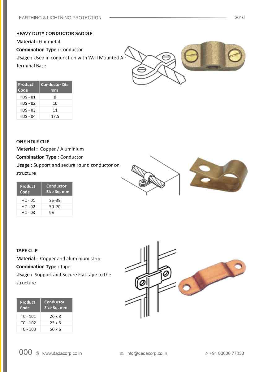 Heavy duty conductor saddle,one hole clip & tape clip