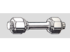 Double End Studs With Reduced Shank - With 2 Hexagon Nuts - Steel